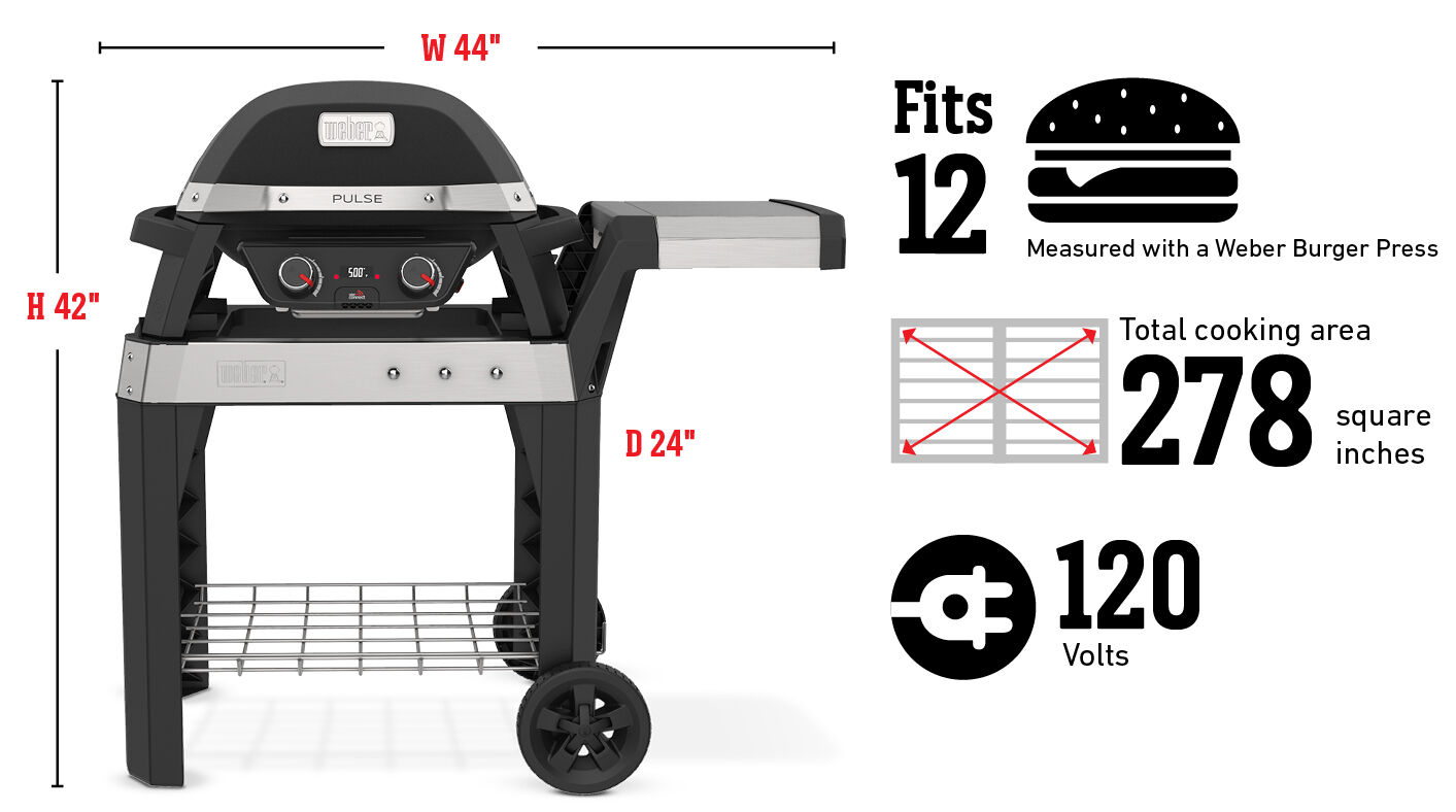 Fits 12 Burgers Measured with a Weber Burger Press, Total cooking area 278 square inches, 120 Volts