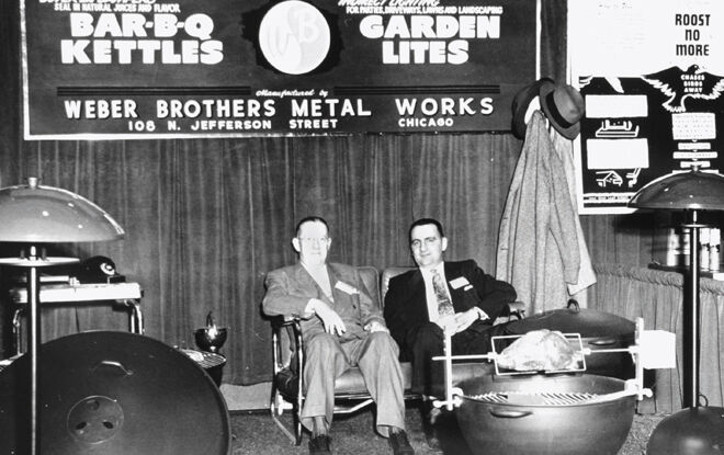 George Stephen Weber displaying his Weber Kettle Grills in 1952 - Charcoal & Gas Grills Made In USA