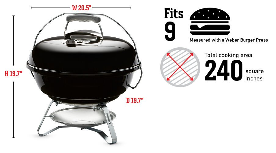 Fits 9 Burgers Measured with a Weber Burger Press, Total cooking area 240 square inches