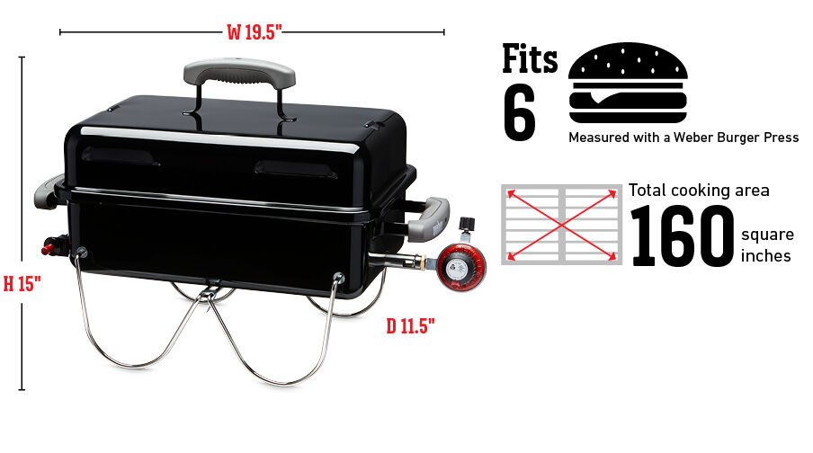 Fits 6 Burgers Measured with a Weber Burger Press, Total cooking area 160 square inches