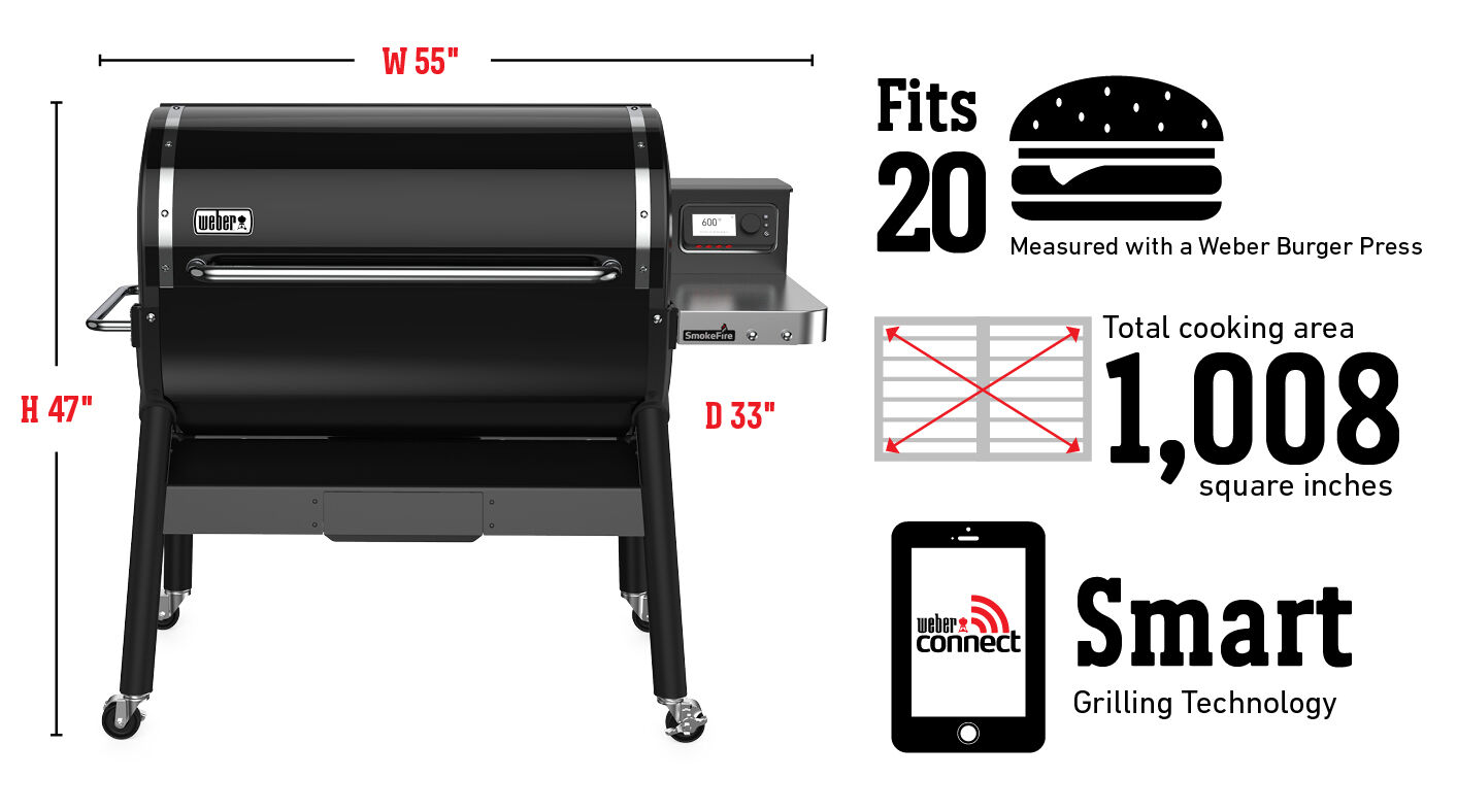 Fits 20 Burgers Measured with a Weber Burger Press, Total cooking area 1,008 square inches, Weber Connect Smart Grilling Technology