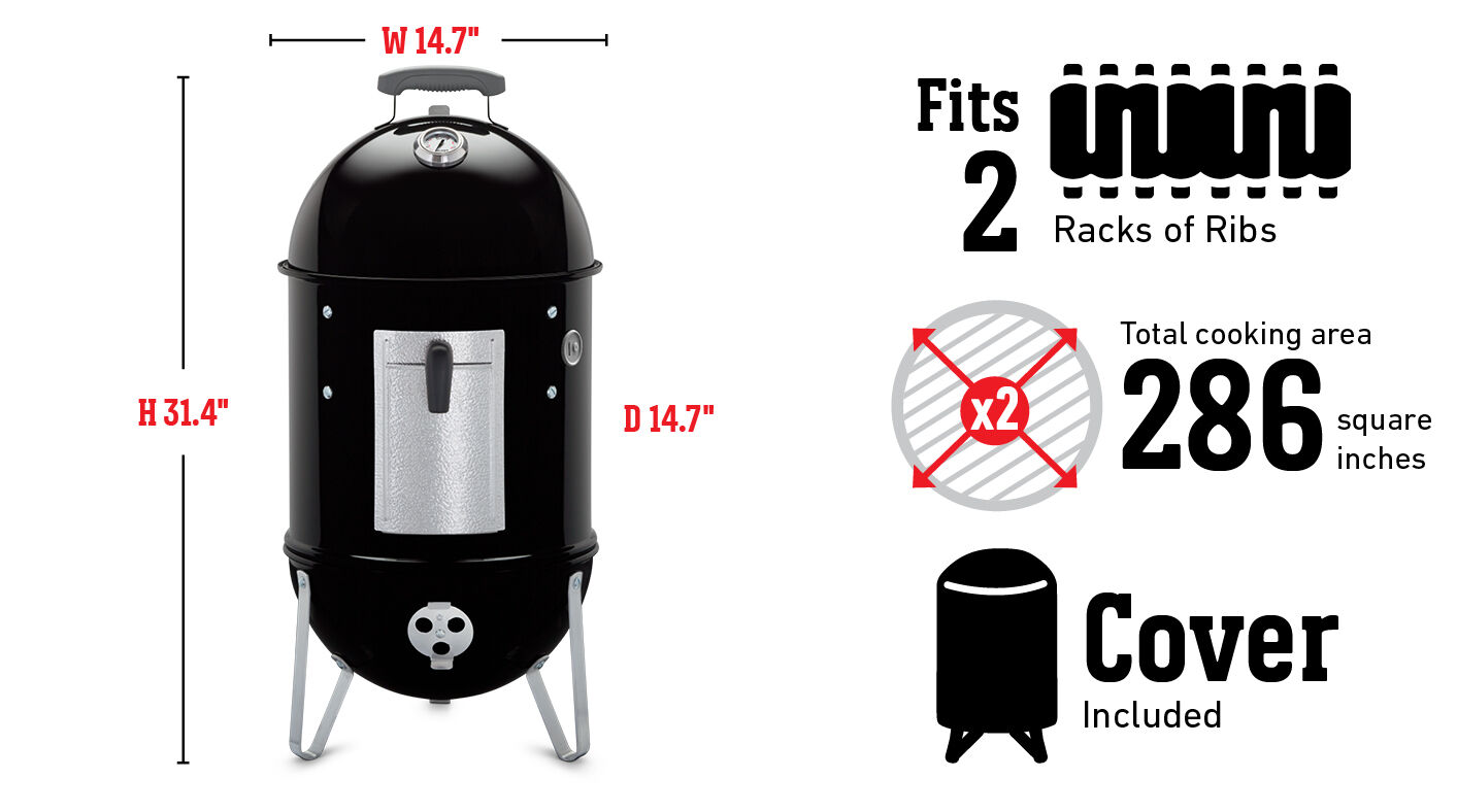 Fits 2 racks of ribs, Total cooking area 286 square inches, cover included