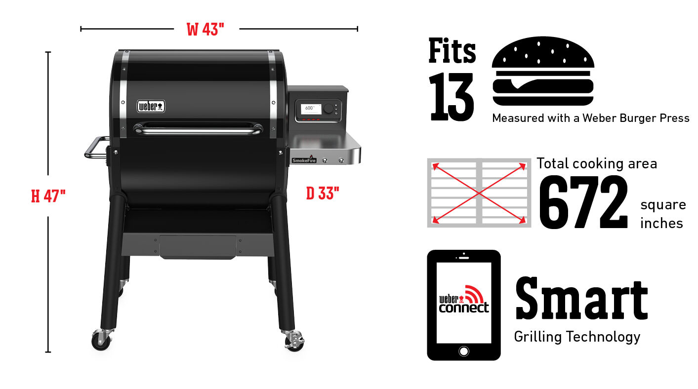 Fits 13 Burgers Measured with a Weber Burger Press, Total cooking area 669 square inches, Weber Connect Smart Grilling Technology
